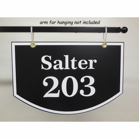 Two Sided Hanging Address Sign Arch Shape