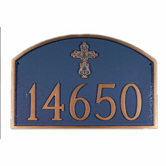 Personalized Arch Plaque with Ornate Cross