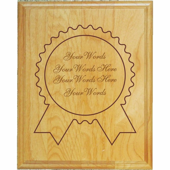 Award Plaque - Engraved Wood Ribbon Wall Recognition Plaque