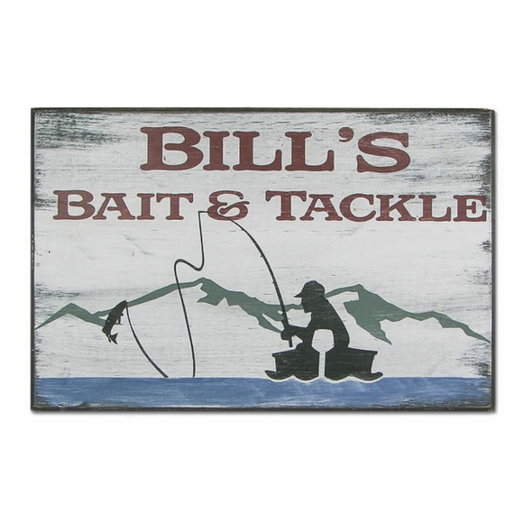 Personalized Bait & Tackle Gone Fishing Sign