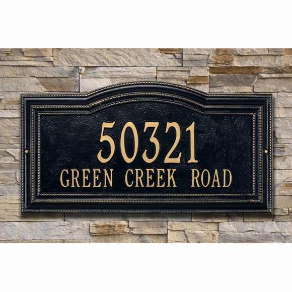 Address Plaque With Arch And Decorative Beaded Border