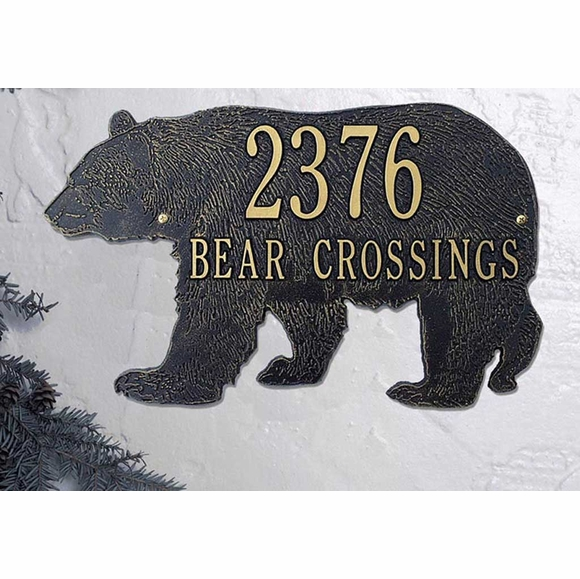 Personalized Bear Silhouette Address Plaque