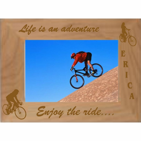Personalized Custom Engraved Bike Ride Picture Frame - For Bicycle Riders To Show Off Favorite Ride