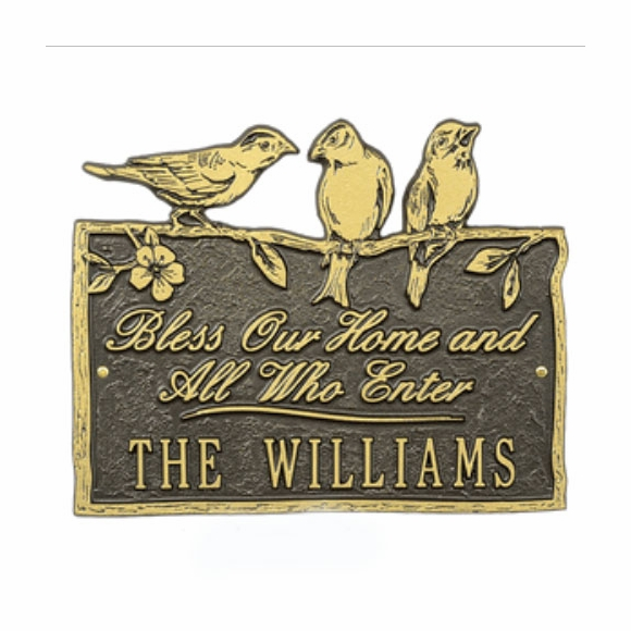 Bless Our Home and All Who Enter Custom Name Plaque With Birds On Top