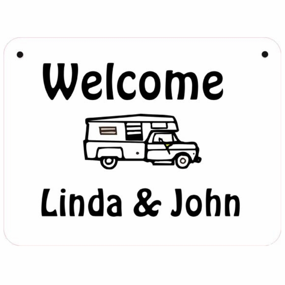 Welcome Sign For RV or Camper Personalized With Name, Lot Number, or Custom Text