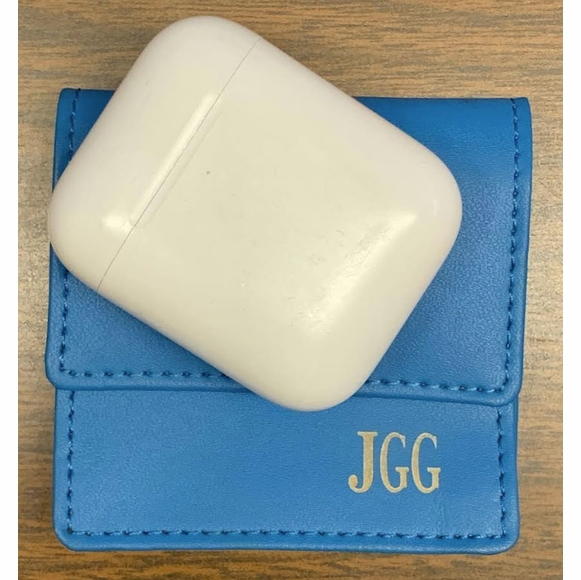 Personalized Carrying Case For AirPods - Monogrammed Leather Pouch With Your Initials