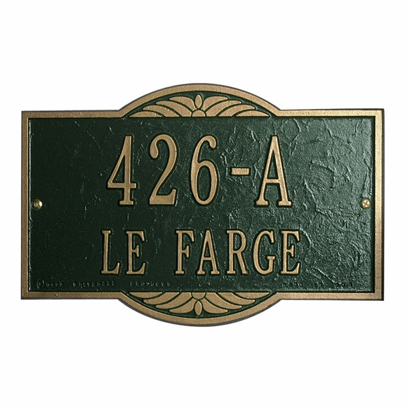 Personalized Cast Aluminum Address Sign With Decorative Top and Bottom Arch