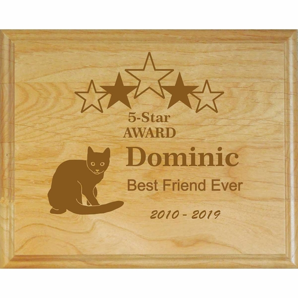 Personalized Cat Memorial Engraved Wood Wall Plaque