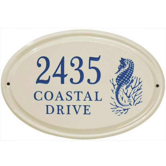 Personalized Ceramic Address Plaque with Sea Horse