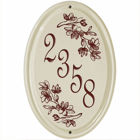 Ceramic House Number Plaque - Vertical Address Plaque With Dogwood or Sea Horse