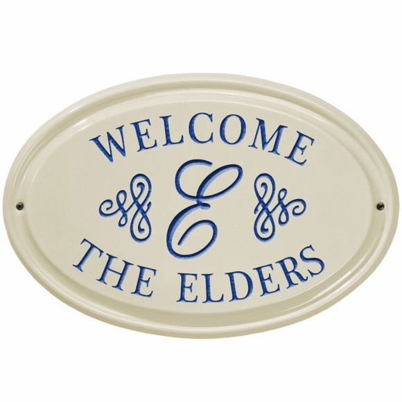 Personalized Ceramic Welcome Sign With Name and Monogram
