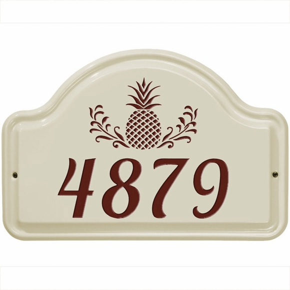 Ceramic Street Number Address Sign With Pineapple Decoration