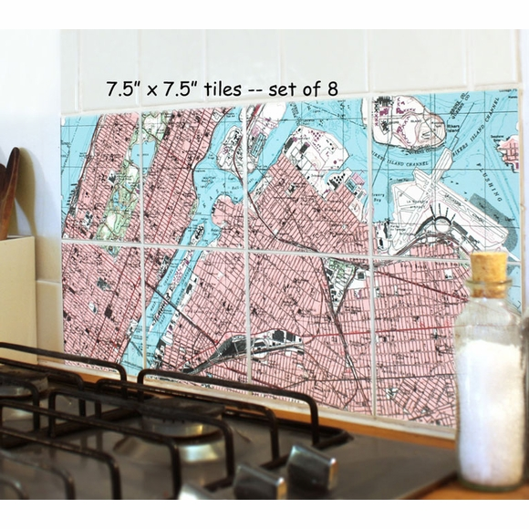 Personalized Ceramic Wall Tiles Map