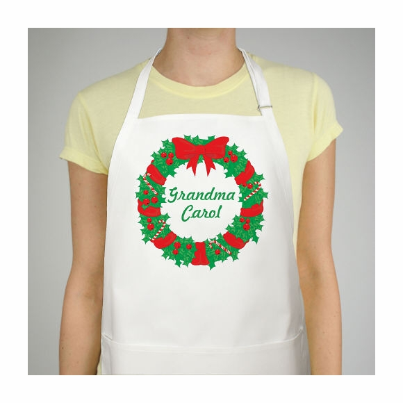 Personalized Christmas Wreath Apron