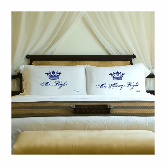 Personalized Couples Royal Crown Pillowcase Set
