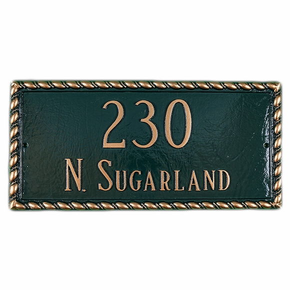 Decorative 2 Line Address Plaque With Spiral Border Displays House Number and Street Name