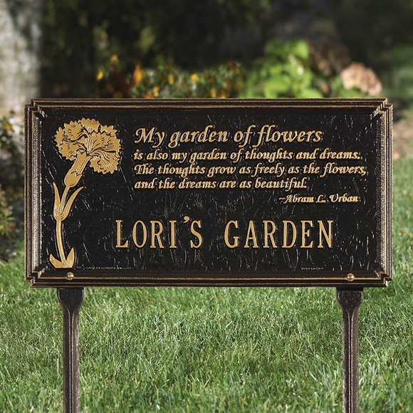 Personalized Garden Name Plaque - My garden of flowers is also my garden of dreams quote.