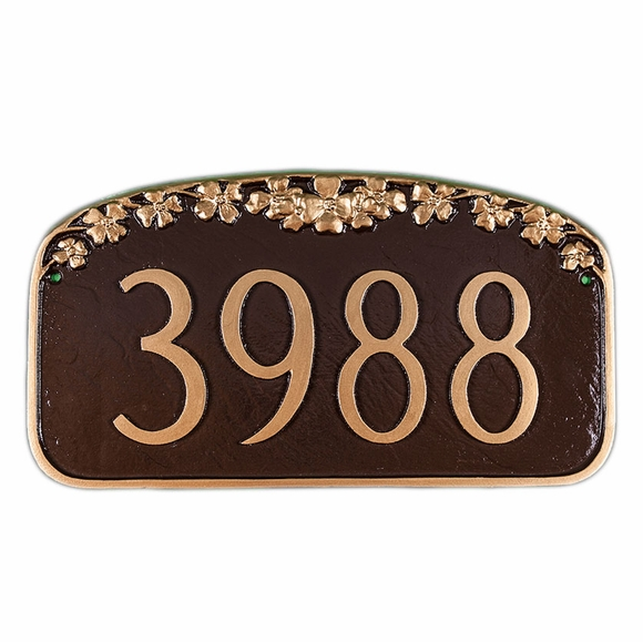 House Number Sign With Dogwood Blossoms - Nature Theme Custom Address Plaque