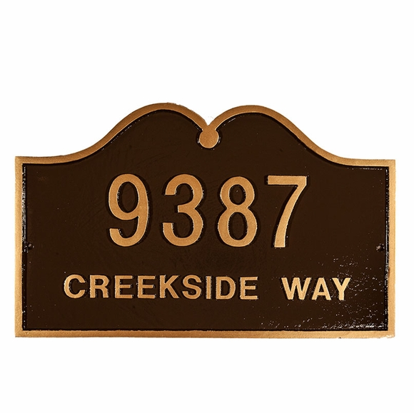Double Arch Home Address Sign - Decorative House Number Plaque - Choose Your Color