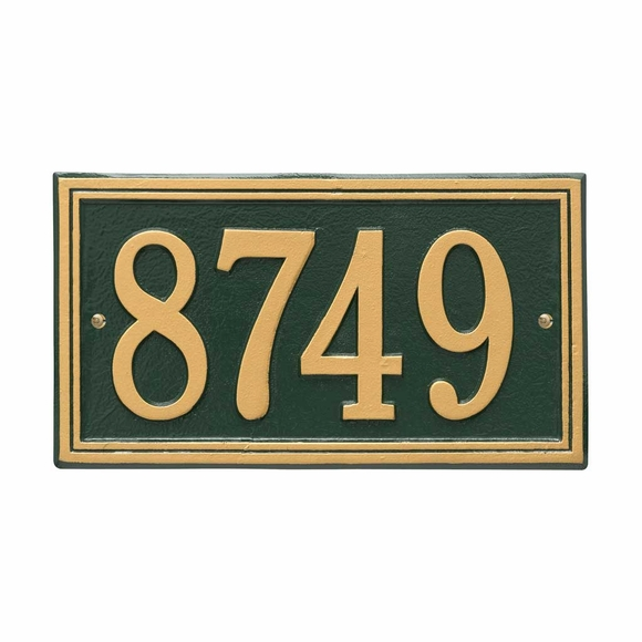 Aluminum Metal Rectangle Address Plaque - For Wall or Optional Lawn Mount