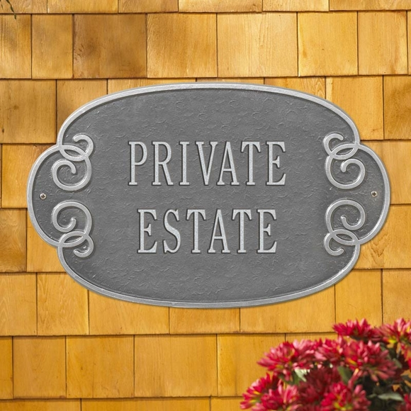 Decorative Metal Plaque - Personalized Sign For House Address, Business Name, Private Estate, or Custom Wording