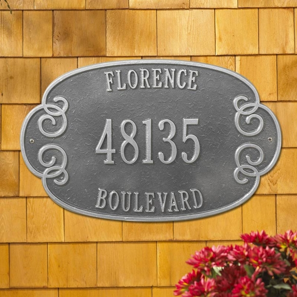 3 Line Address Sign Embellished Oval