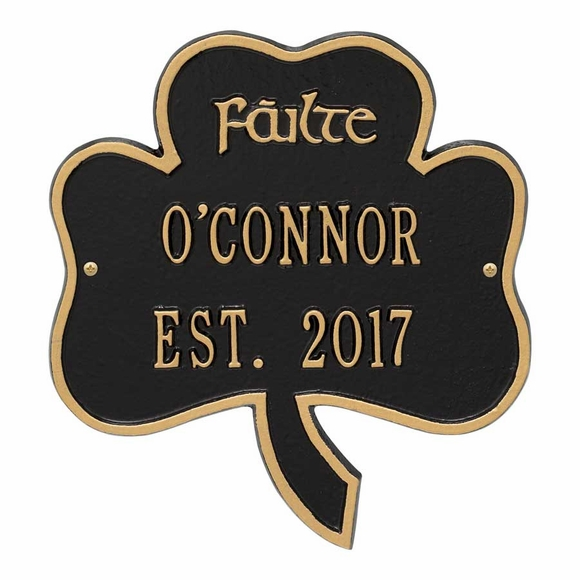 Personalized Failte Shamrock Welcome Plaque