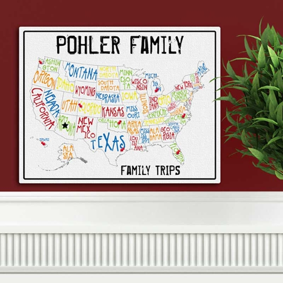 Personalized Family Trips Multi Color Travel Map