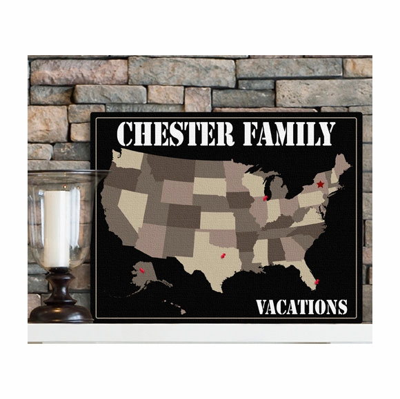 Personalized Family Vacation Map Canvas Print