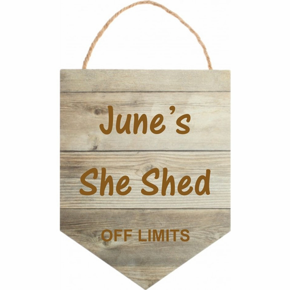 Personalized Banner Shape Wall Sign - Faux Wood Hanging Wall Art Custom Engraved With Your Message