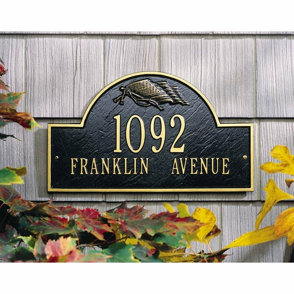 Metal Address Plaque With Waving Flag In Arch For Wall or Optional Lawn Mount - Choose Your Color