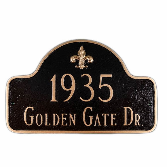 Personalized Fleur de Lis Arch Address Plaque Displays Your House Number and Street Name - Choose Your Color
