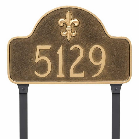 Fleur de Lis Arch Address Sign For Wall or Optional Lawn Stake Mount