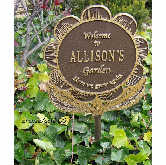 Welcome to Garden Plaque - Flower Shape Sign Personalized With Name and Here We Grow Again