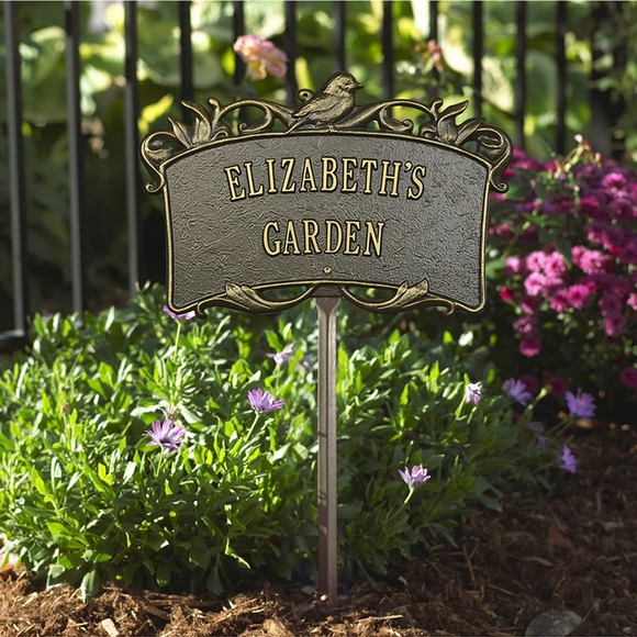 Personalized Garden Plaque With Bird & Scrollwork Decoration And Lawn Stake