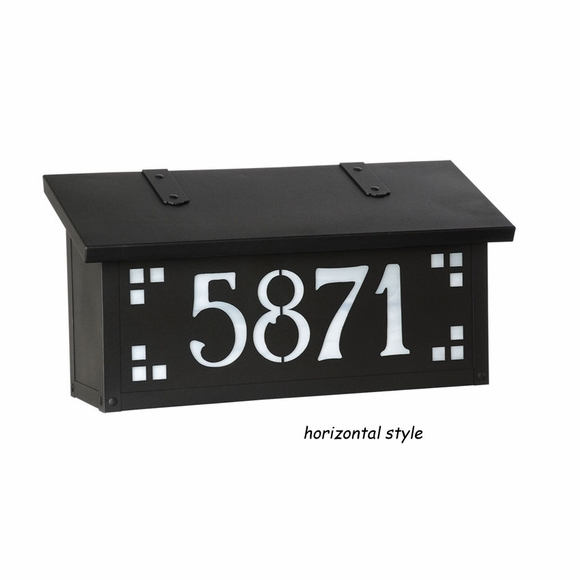 Arts & Crafts Style Brass Wall Mailbox With Glass Panel House Address Number