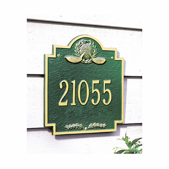 Personalized Golf Address Plaque With Ball and Clubs
