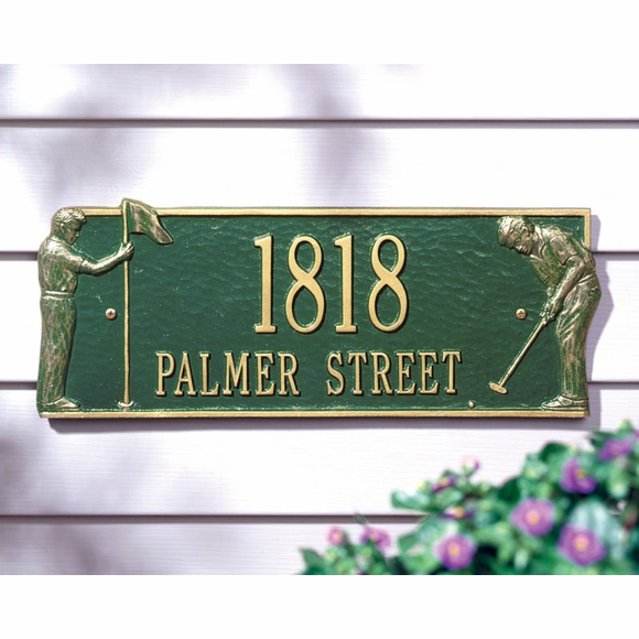 Address Sign With Two Golfers On Greens - Golf Theme Address Plaque