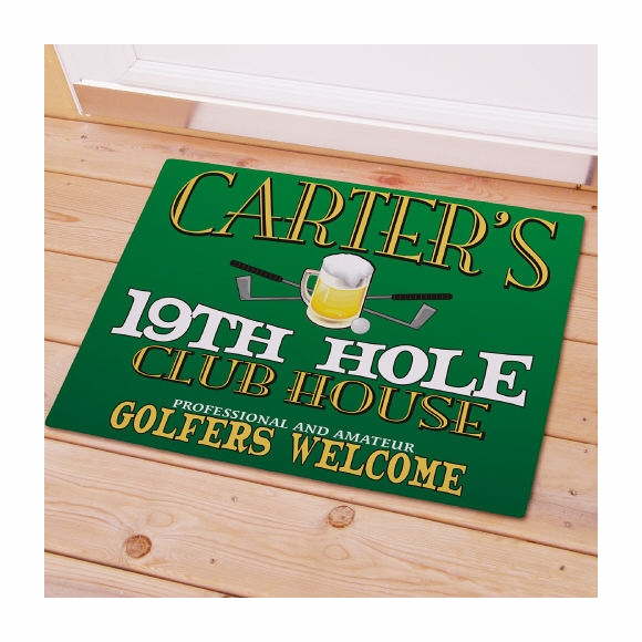 Personalized Golfers 19th Hole Doormat
