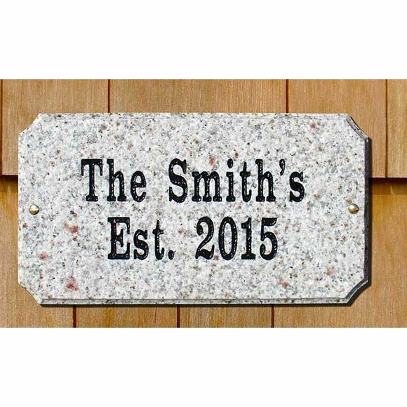 Personalized Granite Family Name House Plaque - Oval, Rectangle, or Arch