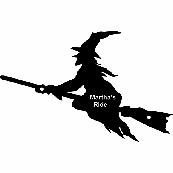 Personalized Halloween Witch on Broom Wall Art - Custom Engraved With Your Message