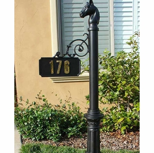Personalized Hanging Address Sign with Decorative Post