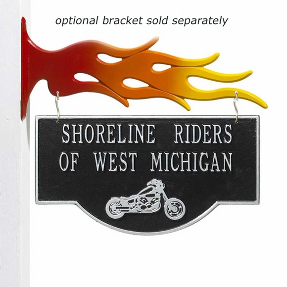 Hanging Plaque With Motorcycle - Double Sided Metal Sign
