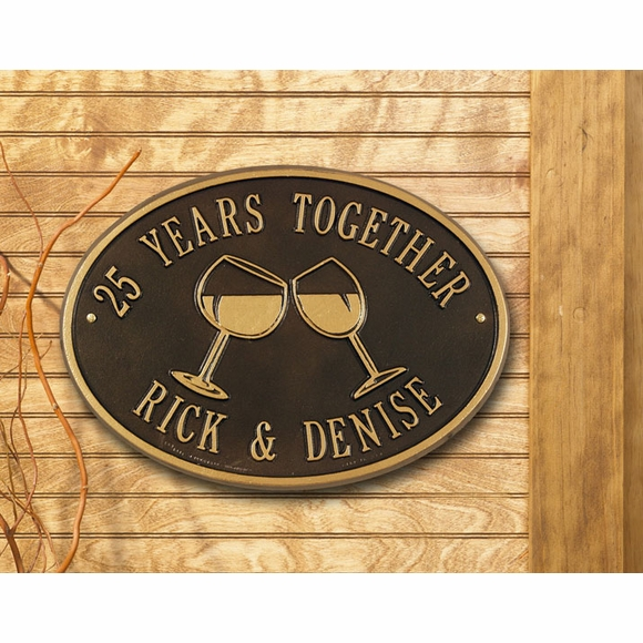 Personalized Anniversary Sign with Two Toasting Wine Glasses
