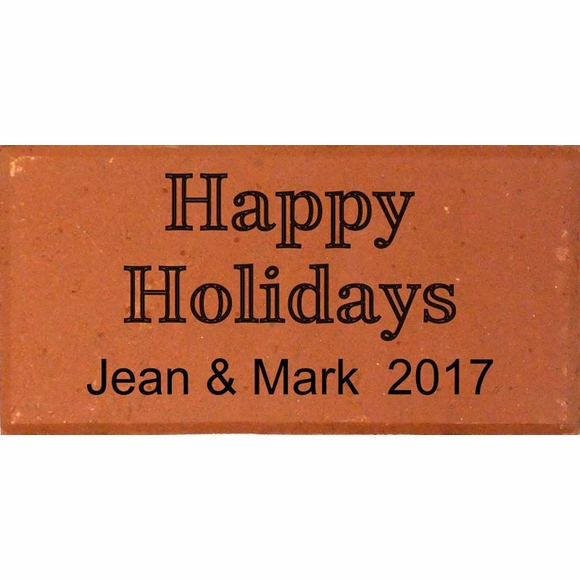 Personalized Happy Holidays Engraved Brick Gift