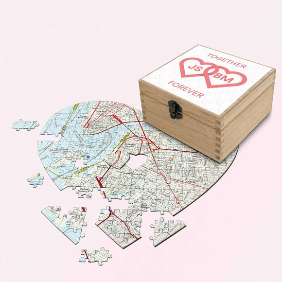 Personalized Heart Shape Puzzle in Valentine's Day Keepsake Box