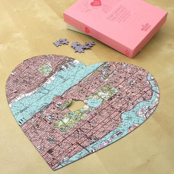 Personalized Heart USGS Map Jigsaw Puzzle