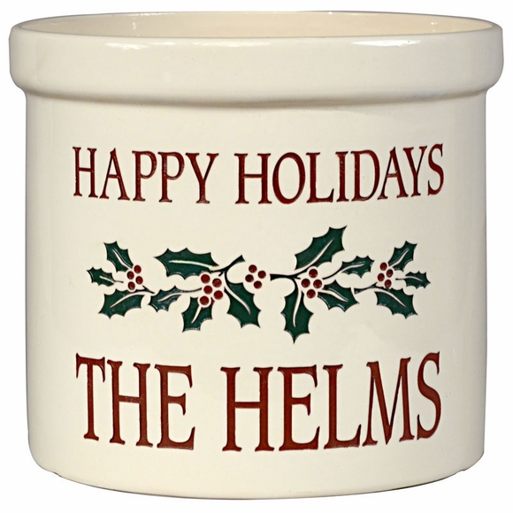 Personalized Holiday Holly Crock