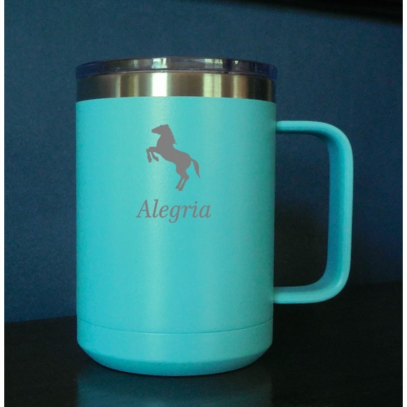 Personalized Horse Theme Stainless Steel Coffee Mug - Equestrian Tumbler
