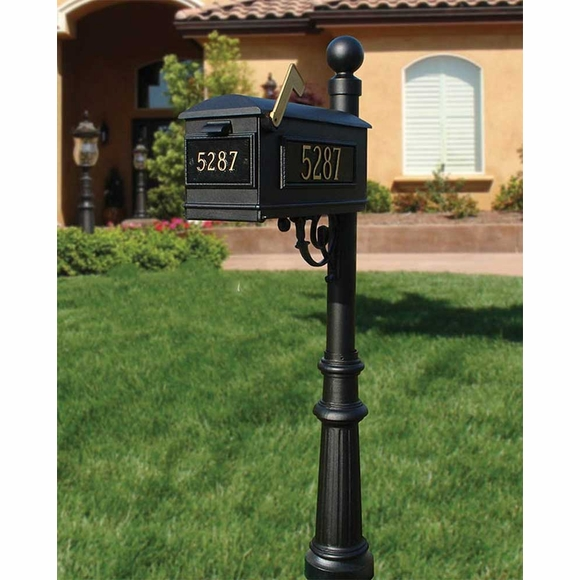 Personalized House Number Mailbox and Post with Scroll Bracket, Decorative Finial, and Base